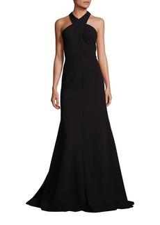 Carmen Marc Valvo Crisscross Halter Dress