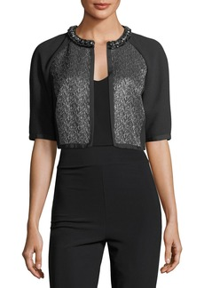 Carmen Marc Valvo Cropped Metallic Tweed Cocktail Jacket