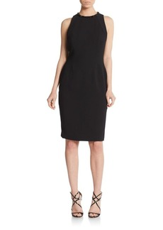 Carmen Marc Valvo Cutout Back Crepe Sheath Dress