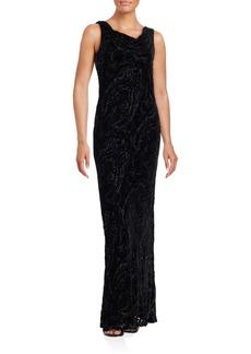 Carmen Marc Valvo Devore Cowlneck Silk-Blend Gown