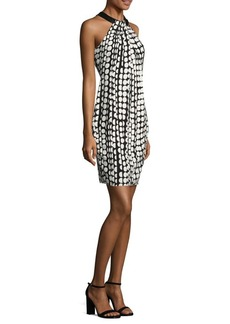 Carmen Marc Valvo Dot Toga Cocktail Dress