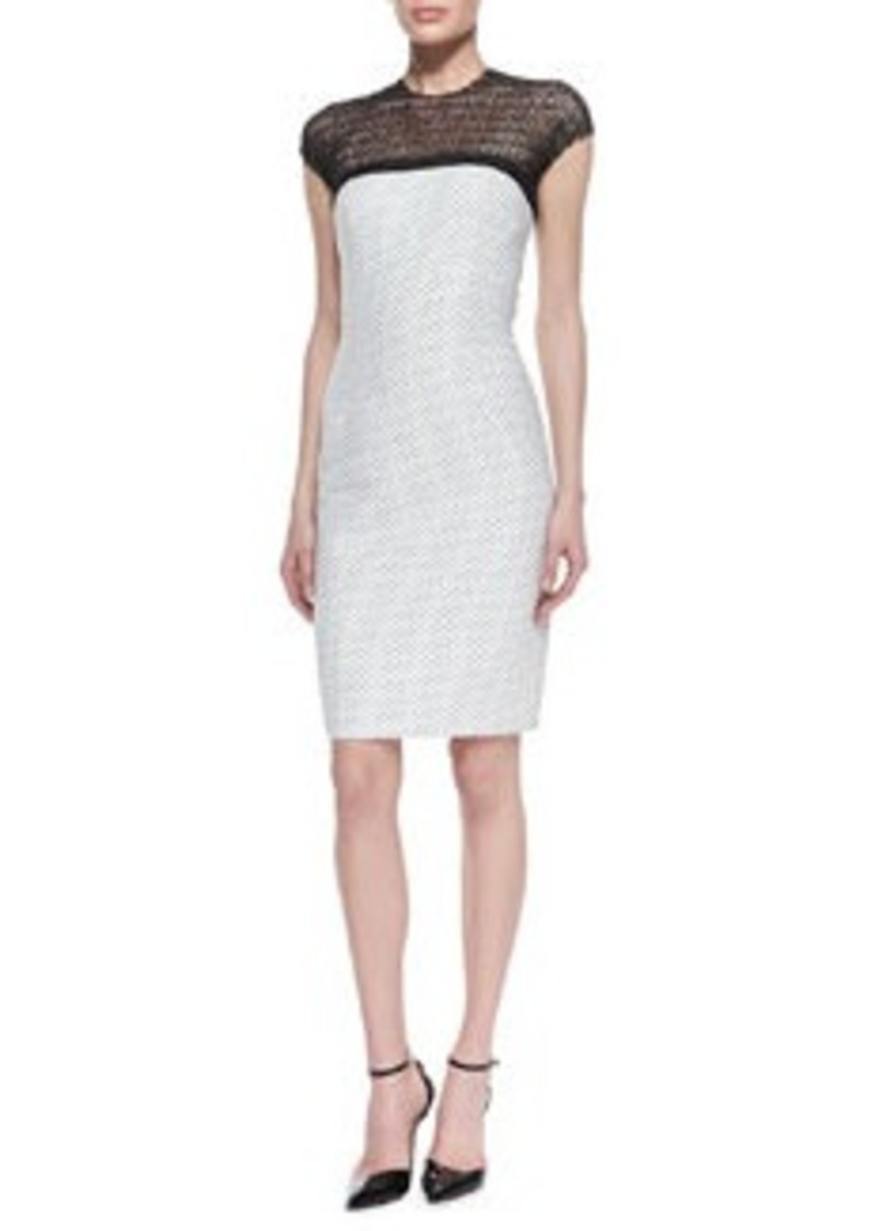 Carmen Marc Valvo Dotted Sheath Dress with Illusion Neckline