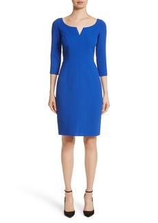 Carmen Marc Valvo Double Face Wool Crepe Cocktail Dress