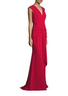Carmen Marc Valvo Draped Crepe Gown