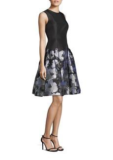 Carmen Marc Valvo Drop-Waist Floral-Print Dress