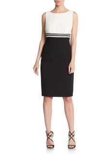 Carmen Marc Valvo Embellished Empire-Detailed Sheath Dress