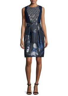 Carmen Marc Valvo Embellished Floral-Print Cocktail Dress