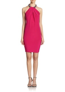 Carmen Marc Valvo Embellished Halter Dress