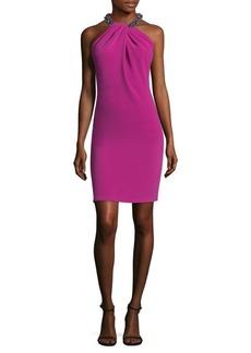 Carmen Marc Valvo Embellished Halterneck Dress