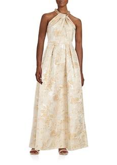 Carmen Marc Valvo Embellished Halterneck Floral Gown