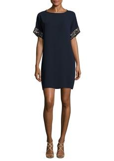 Carmen Marc Valvo Embellished Jewelneck Dress