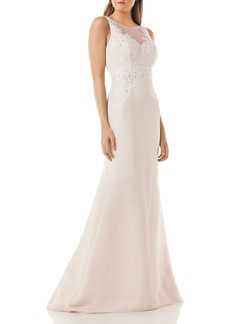 Carmen Marc Valvo Embellished Mermaid Gown
