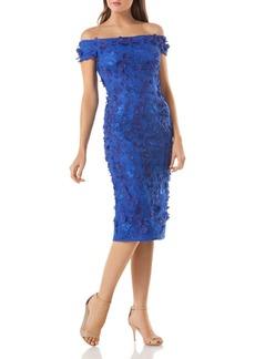 Carmen Marc Valvo Embellished Off-the-Shoulder Dress