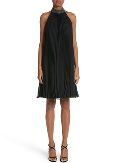 Carmen Marc Valvo Embellished Pleat Trapeze Dress