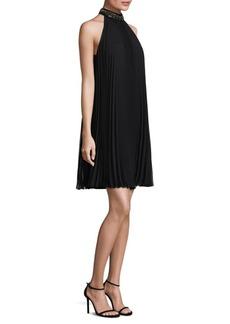 Carmen Marc Valvo Embellished Pleated Dress