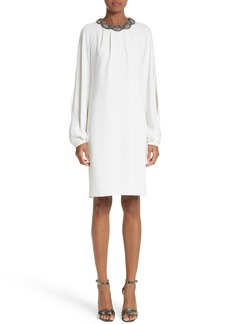 Carmen Marc Valvo Embellished Split Sleeve Shift Dress
