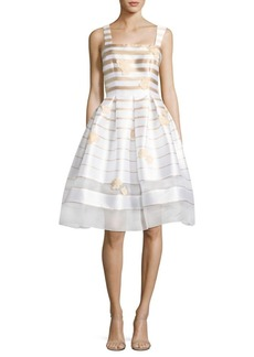 Carmen Marc Valvo Embellished Striped Fit-&-Flare Dress