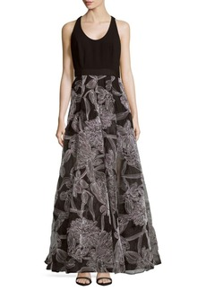 Carmen Marc Valvo Embroidered Crepe Organza Gown