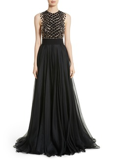 Carmen Marc Valvo Embroidered Organza Gown