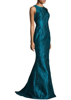 Carmen Marc Valvo Embroidered Peplum Gown
