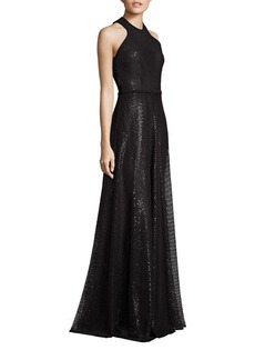 Carmen Marc Valvo Embroidered Sequin Halter Gown