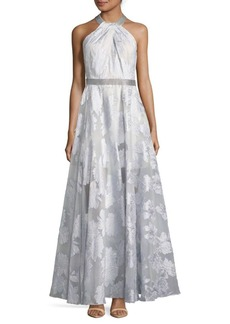 Carmen Marc Valvo File Coupe Embroidered Halter Gown