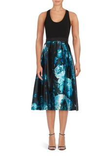 Carmen Marc Valvo Fit-&-Flare Floral Print Dress