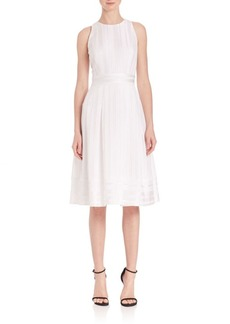 Carmen Marc Valvo Fit-and-Flare Raised Jacquard Cocktail Dress