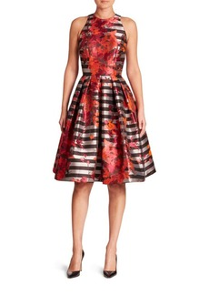 Carmen Marc Valvo Floral & Striped Fit-&-Flare Dress