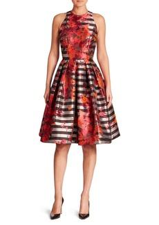 Carmen Marc Valvo Floral & Striped Fit-&-Flare Dress
