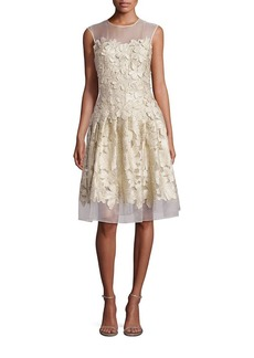 Carmen Marc Valvo Floral Appliqué Cocktail Dress