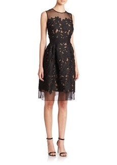 Carmen Marc Valvo Floral-Appliqué Dress