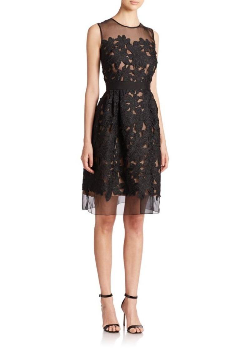 Carmen Marc Valvo Floral-Appliqué Dress