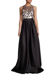 Carmen Marc Valvo Floral Applique Gown