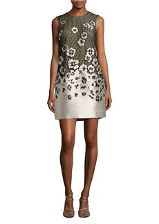 CARMEN MARC VALVO Floral Applique Lace Shift Dress