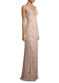 Carmen Marc Valvo Floral Beaded Gown