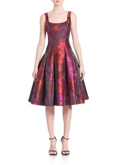 Carmen Marc Valvo Floral Brocade Drop-Waist Dress
