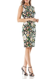 Carmen Marc Valvo Infusion Floral Embroidered Dress