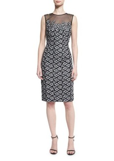 Carmen Marc Valvo Floral-Embroidered Lace Cocktail Dress