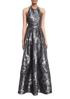 Carmen Marc Valvo Floral Halter Ball Gown