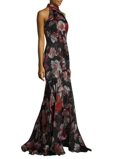 Carmen Marc Valvo Floral Halter Gown