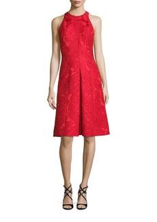 Carmen Marc Valvo Floral Jacquard A-Line Dress