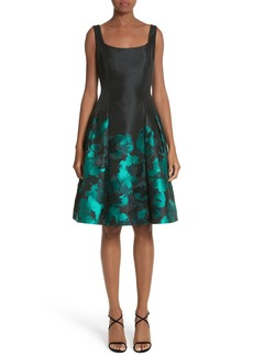 Carmen Marc Valvo Floral Jacquard Cocktail Dress
