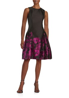 CARMEN MARC VALVO Floral Jacquard Dropped-Waist Dress