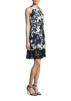 Carmen Marc Valvo Floral Jacquard Lace Hem Dress