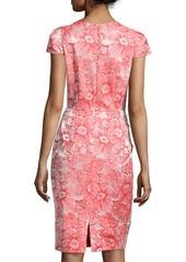 Carmen Marc Valvo Floral Jacquard Sheath Dress