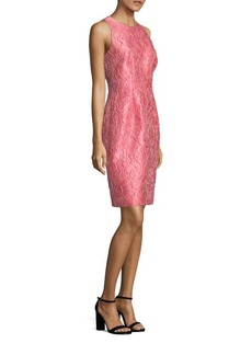 Carmen Marc Valvo Floral Jacquard Sheath Dress