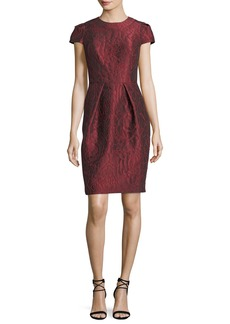 Carmen Marc Valvo Floral Jacquard Short-Sleeve Cocktail Dress