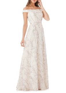 Carmen Marc Valvo Floral Off-the-Shoulder Ball Gown