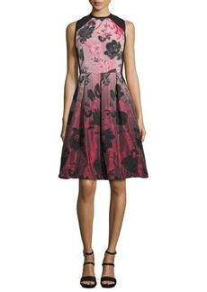 Carmen Marc Valvo Floral-Ombre Fit-&-Flare Dress